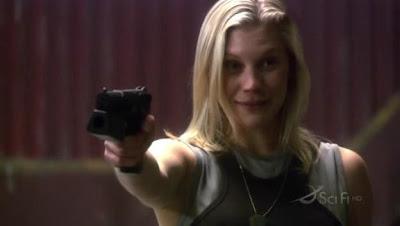 Katee Sackhoff as Kara Starbuck Thrace