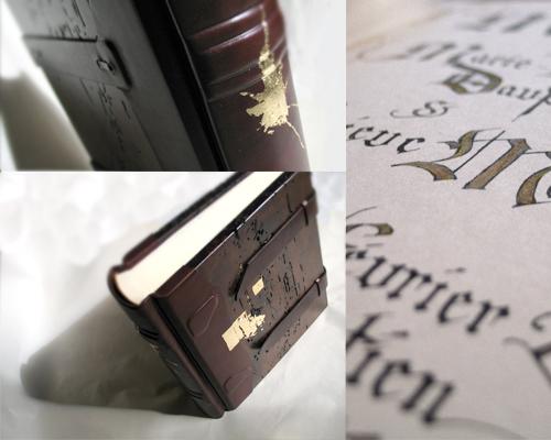 livre de mariage (objet ready made, feuilles d'or, enluminures, illustrations, ornements)