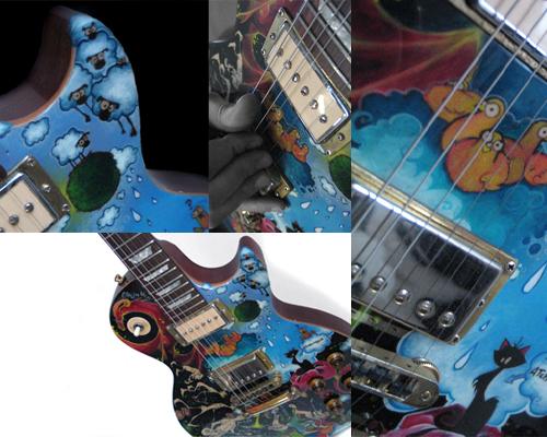 guitare de marco! une Les Paul, démontée-poncée-peinturée, en collaboration avec vincent caudeville