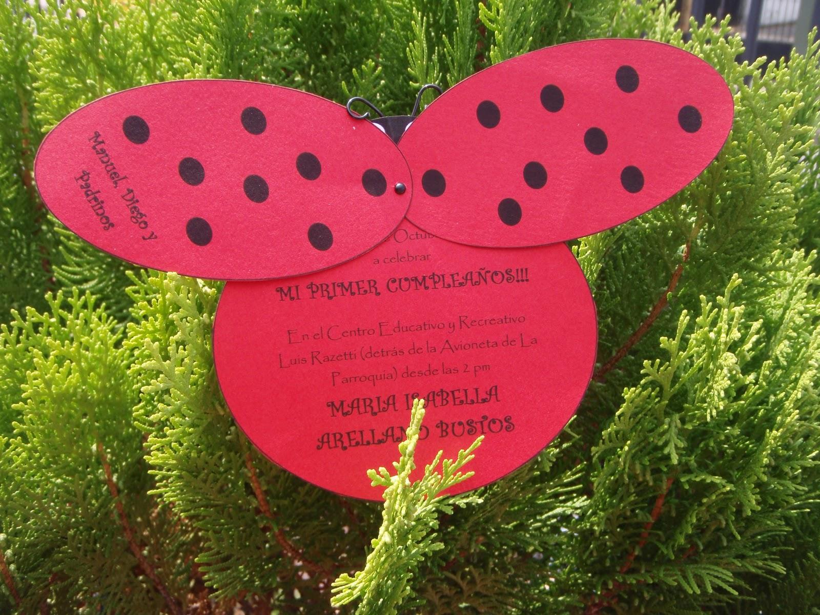 ... Creaciones y Scrapbook!!!: Invitacion Mariquita.....Hermosaaaaaaaa
