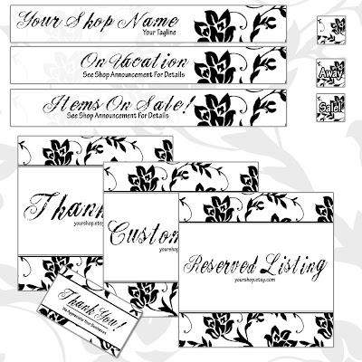 Custom Etsy Graphic Set French Black Shabby Chic Aurelle Designs