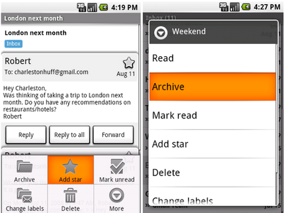 A sneak peek at Gmail on Android