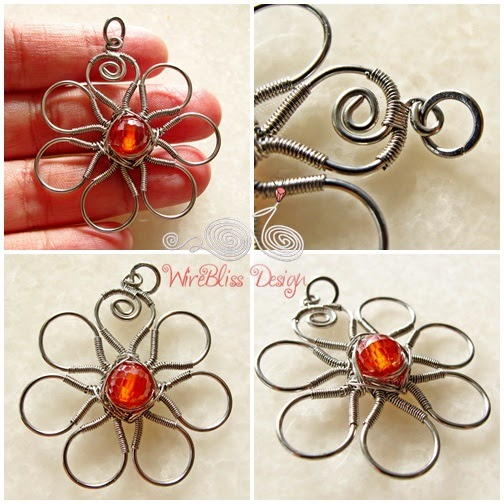 Wire wrapped flora pendant 7 petals wirebliss aloadofball Images