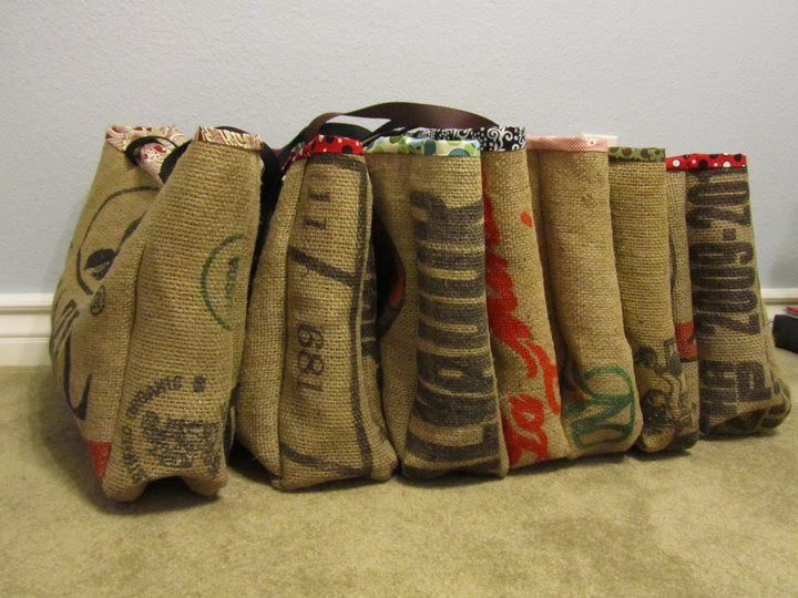 Tote bag design burlap coffee bag tote pattern free Burlap bag decorating ideas