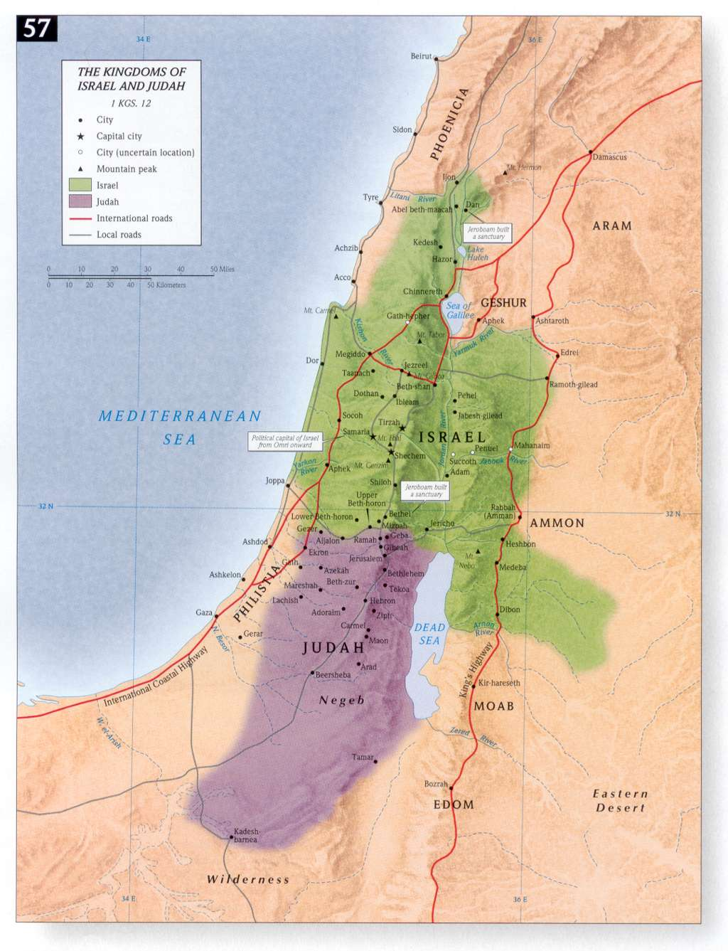 Map Divided Kingdom Israel Judah http://rectorscorner.blogspot.com/2010_04_11_archive.html