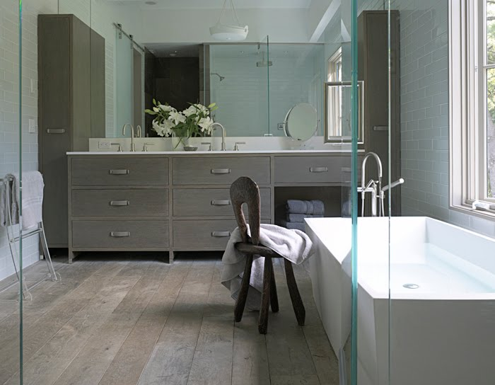Design my way by mimi betancourt grey bathrooms so for Grey wood floor bathroom