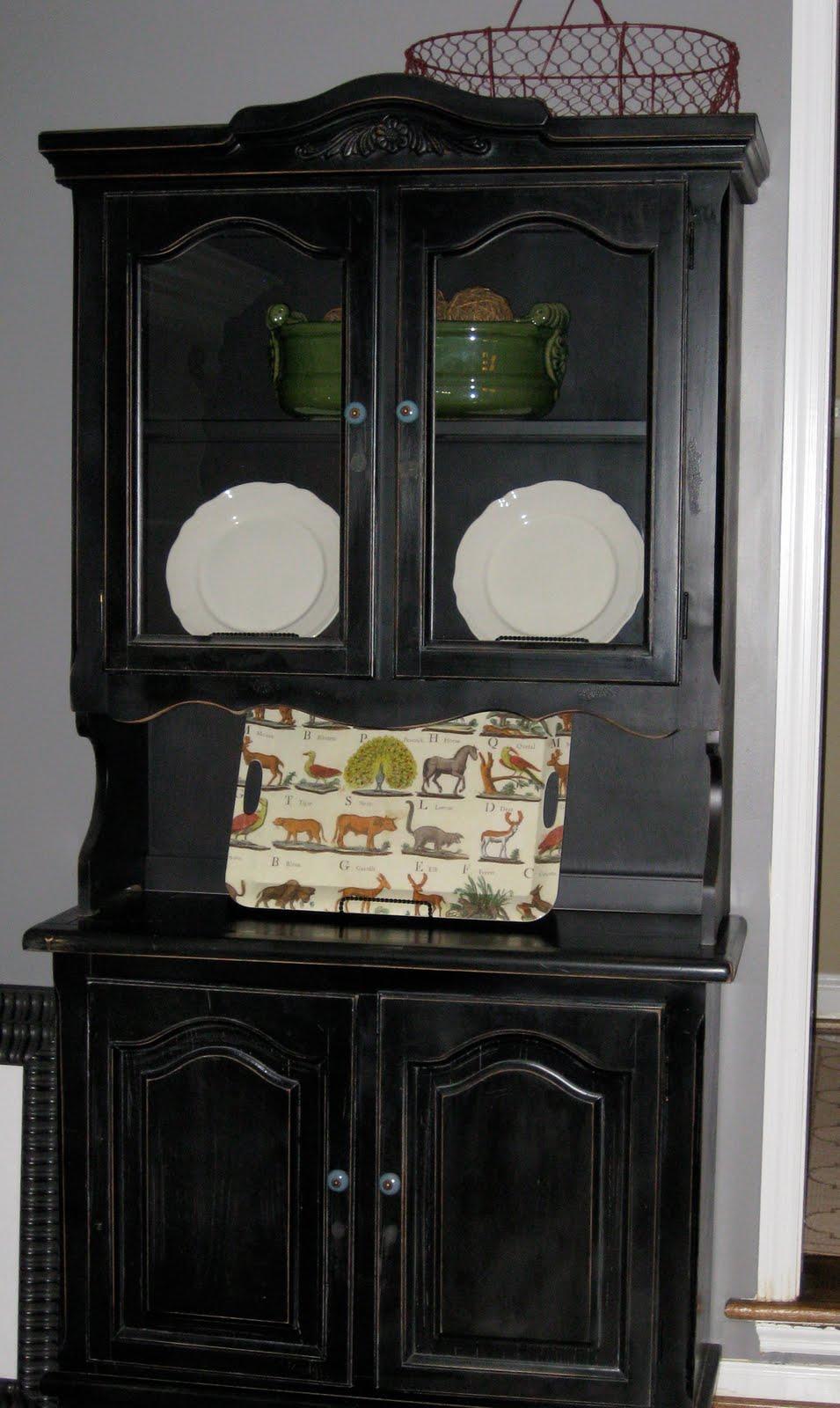 Black antiqued china cabinet