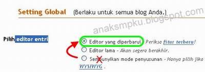 cara Setting Editor Blogger