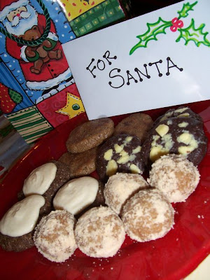 Cookies for Santa on red plate