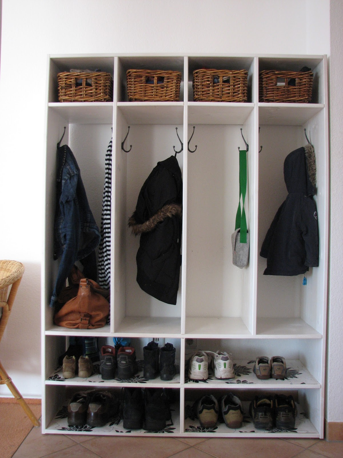 Living in diy shoe coat rack Living room shoe storage ideas