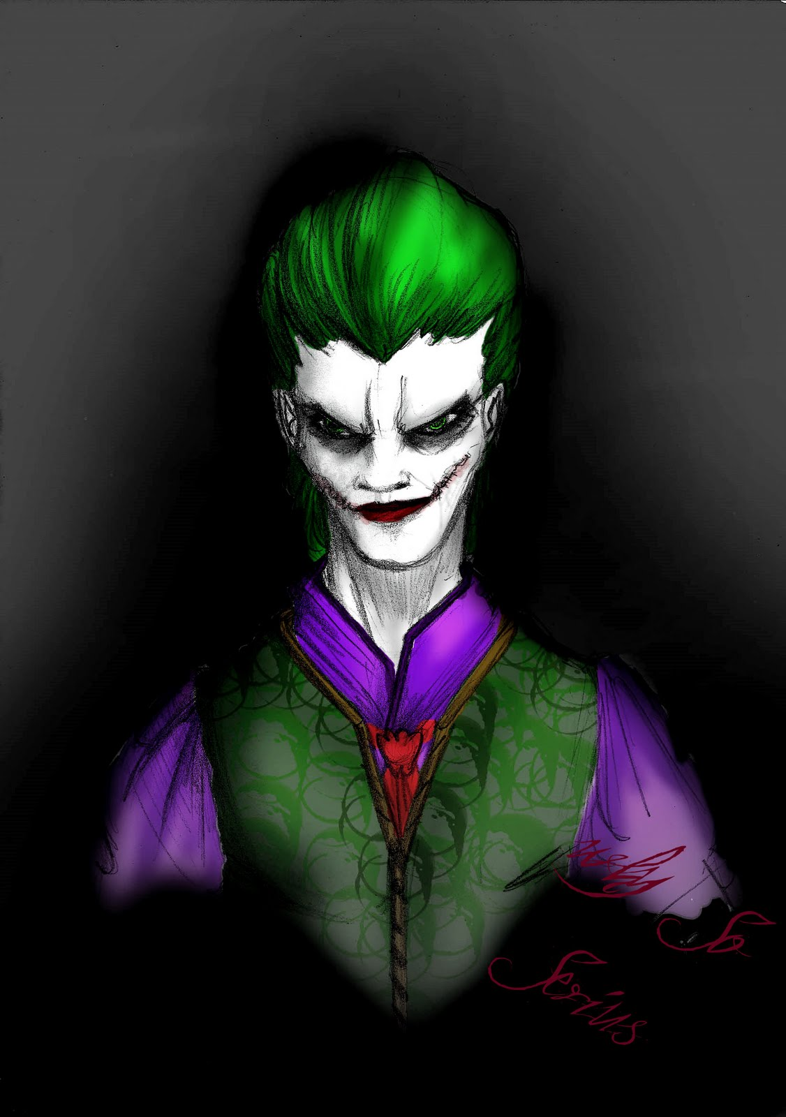 Its the first time that i tried to draw this character and i mix two types of joker the cartoon and the movie batman the dark knight i sketched
