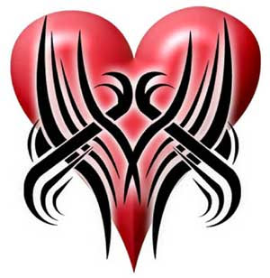 Heart Red Design Tribal