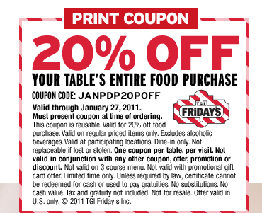 TGI Fridays Coupons go to membhobbdownload-zy.ga Total 20 active membhobbdownload-zy.ga Promotion Codes & Deals are listed and the latest one is updated on September 09, ; 3 coupons and 17 deals which offer up to 20% Off and extra discount, make sure to use one of them when you're shopping for membhobbdownload-zy.ga; Dealscove promise you'll get the best.