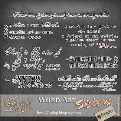 """Scrapbook Freebie Word Art  """"Sisters"""" from Jaelop Designs"""