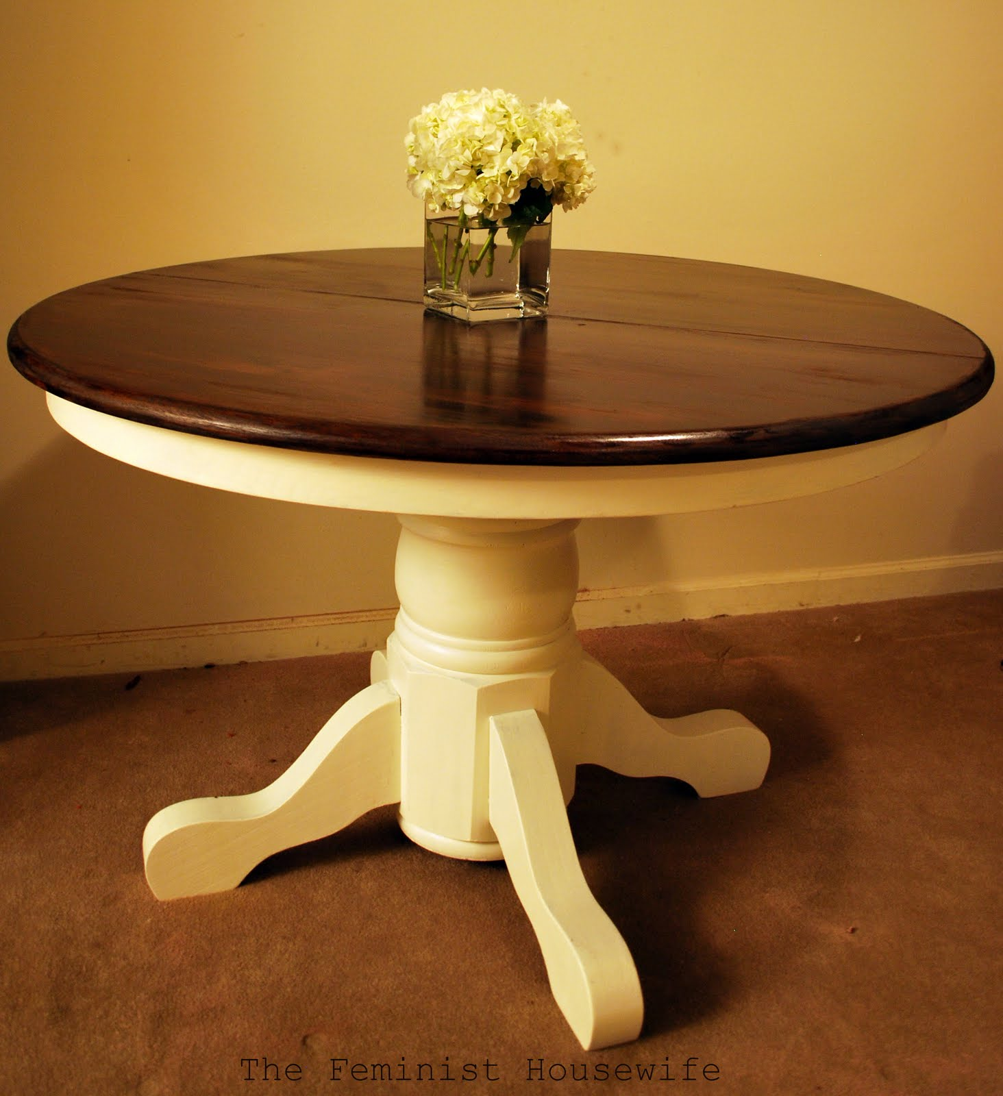 The feminist housewife pedestal table faq for Painted kitchen table ideas