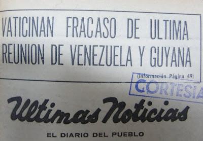 Vaticinan fracaso de la Últimas Reunión de Venezuela Guyana, Diario Ultimas Noticias del 15-02 de 1970 página principal