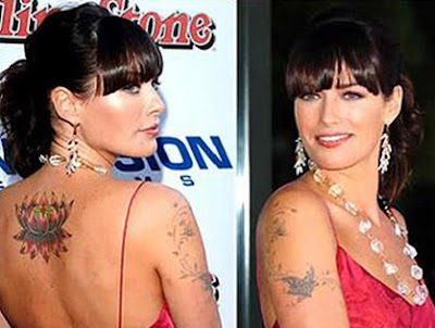 lena headey back flower tattoo image