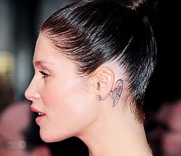 Gemma Arterton behind ear tattoo design | Tattoo designs