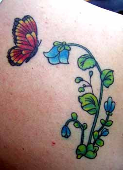 image of Flower butterfly tattoo