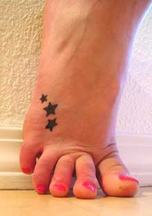 Women Foot Star Tribal Tattoos Picture 1