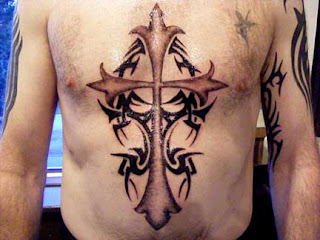 Man Tribal cross tattoo designs
