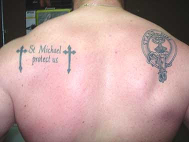Lower back military tattoo
