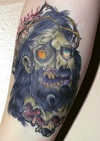 They are like hell and heaven depicted in the same tattoo by inking a zombie