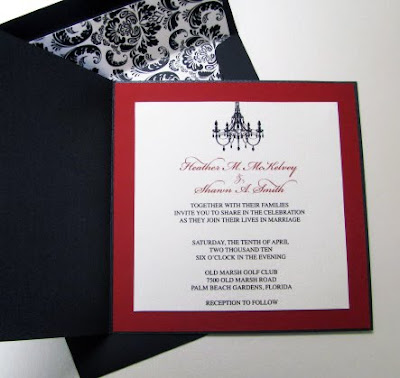 Damask and Chandelier Wedding Invites