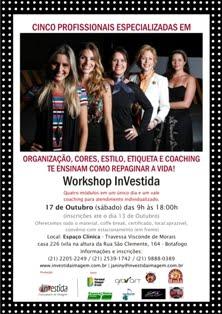 Workshop InVestida Espaço Clínica - 16 e 18 de novembro (seg. e quarta) de 18h às 22h