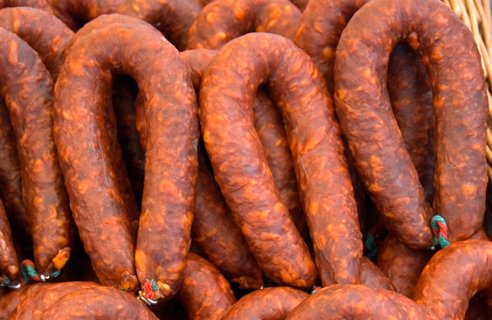 Spanish chorizo is made from coarsely chopped pork and pork fat
