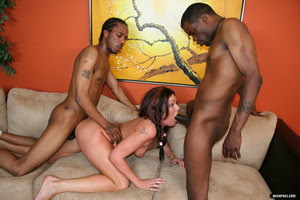 Alyssa gets busy with a couple of jungle brothas!