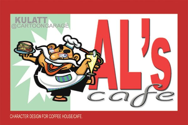 mascot + cafe sign design