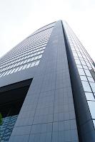 Park Hotel Tokyo katutasosta katsottuna. Huoneemme sijaitsi 28. kerroksessa.