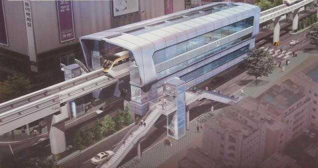 Dibujo de una estación de la línea de monorraíl de Daegu en Corea