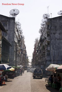 Satellite Dishes in Burma challenging Burmese Regime