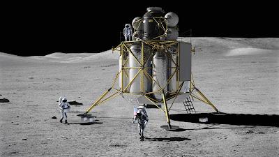 Representación artística del módulo de alunizaje Altair sobre la superficie lunar (NASA)