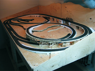 Completed model train layout track work