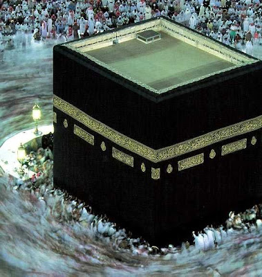 The Kaaba once a black stone of worship in pre-Islamic Arabia, now a formalised idol for the focus of all Muslims' worship