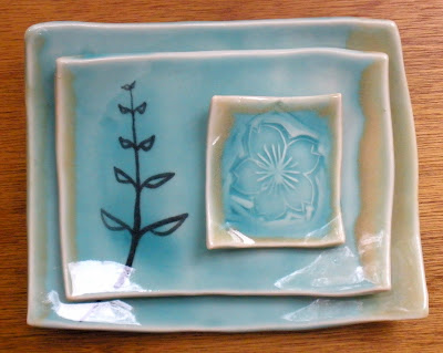 Hand made pottery stoneware ceramic dishes for sushi or... turquoise dinnerware with flower