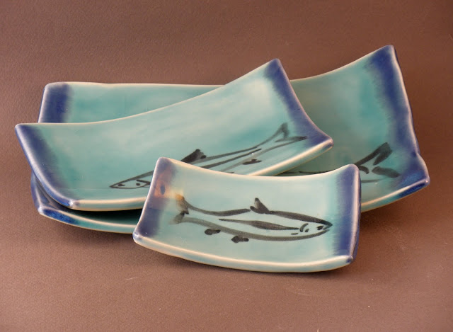 hand made ceramic sushi dishes, rectangular, turquoise, stoneware with leaf design by Lingua Terra Tile and Terra Home designer Bronwyn Simons
