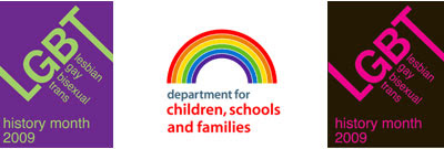 mark for LGBT History Month 2009 and logo of the Department for Children, Schools and Families