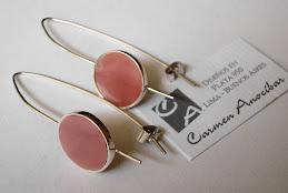 Aretes Ganchos con cuarzo rosa