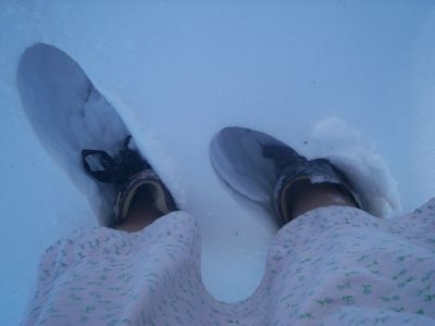 Snowboots and gown