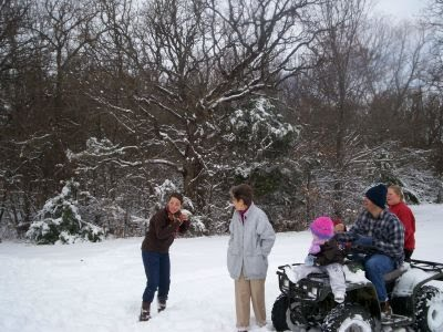 Niece getting hit with snowball!