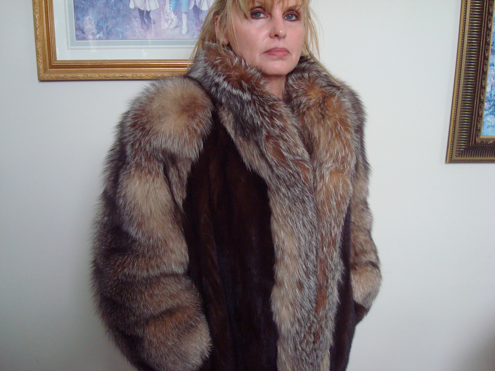 LAFOURRURE2: FUR Lunarain Mink Coat with Crystal Fox Trip