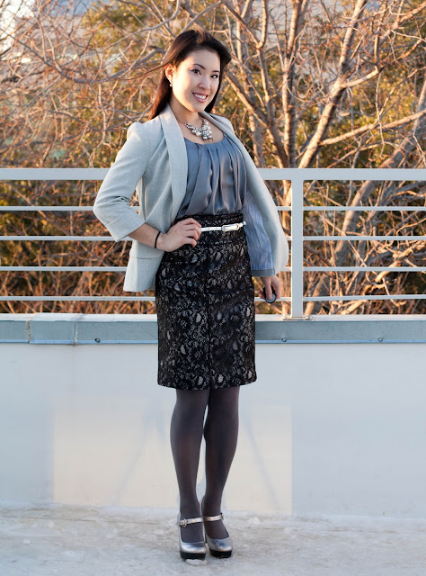 hm satin blouse lace skirt uo blazer guess silver mary jane pumps