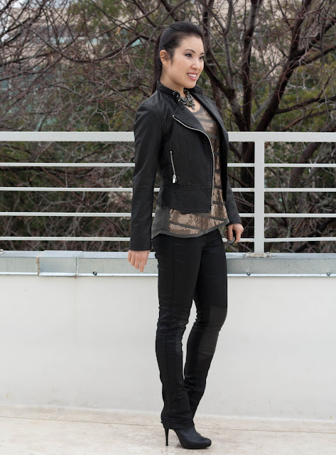 leather pants sequin tank moto jacket