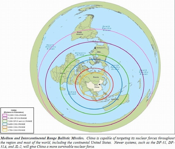 China's Second Artillery missile range diagram