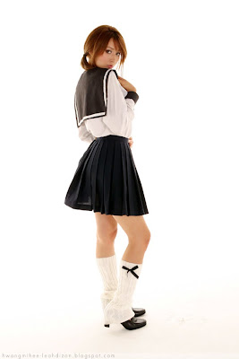 Leah Dizon Cute School Girl Uniform