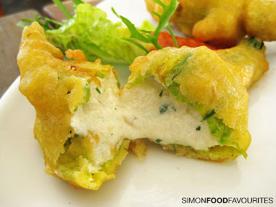 Zucchini Flowers stuffed with herbed ricotta, cabra and served with ...